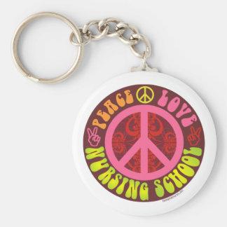 Paz, amor, escuela de enfermería llavero redondo tipo pin