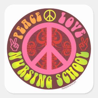 Paz, amor, escuela de enfermería pegatina cuadrada