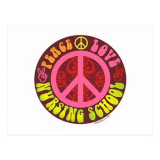 Paz, amor, escuela de enfermería postales