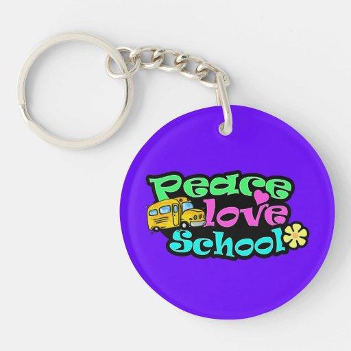 Paz, amor, escuela; Retro Llavero Redondo Acrílico A Doble Cara