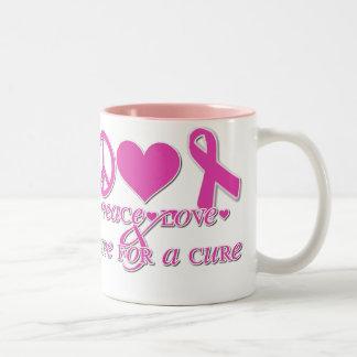 Paz, amor, esperanza taza de café de dos colores