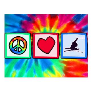 Paz, amor, esquí de la nieve tarjetas postales
