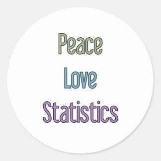 Paz, amor, estadísticas etiqueta redonda
