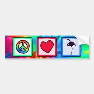 Paz, amor, flamencos pegatina para auto