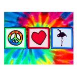 Paz, amor, flamencos postal