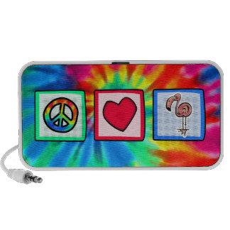 Paz amor flamencos rosados laptop altavoz