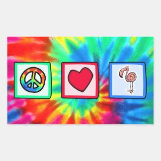 Paz, amor, flamencos rosados pegatina rectangular