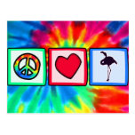 Paz, amor, flamencos tarjeta postal