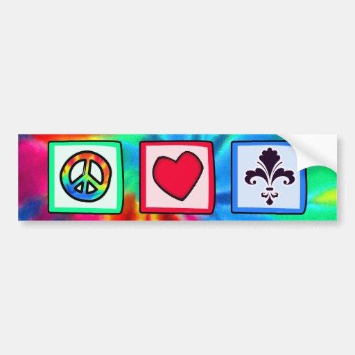 Paz, amor, flor de lis pegatina de parachoque