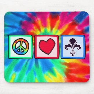 Paz, amor, flor de lis alfombrilla de raton
