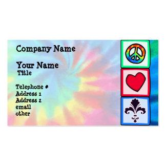 Paz, amor, flor de lis plantillas de tarjetas personales