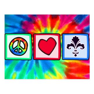 Paz, amor, flor de lis postal