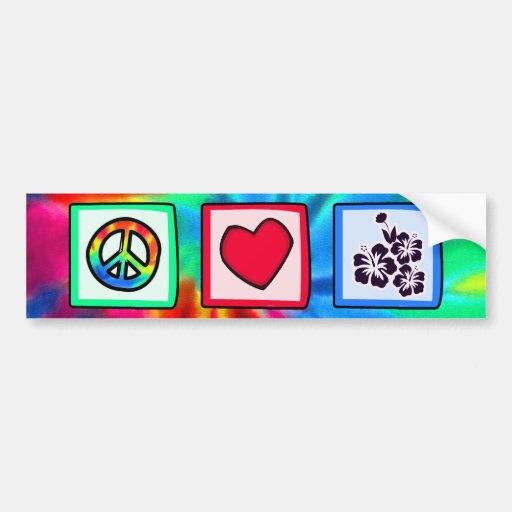 Paz, amor, flores tropicales etiqueta de parachoque