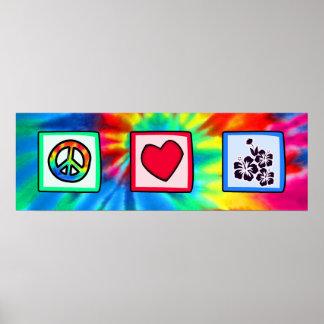 Paz, amor, flores tropicales impresiones