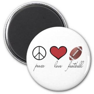 Paz, amor, fútbol imán de nevera