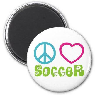 Paz, amor, fútbol imán de frigorífico