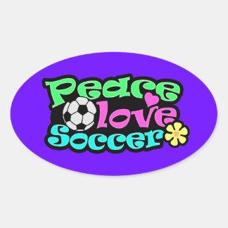 Paz, amor, fútbol; Retro Calcomanía Oval Personalizadas