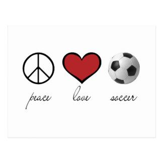Paz amor fútbol tarjeta postal