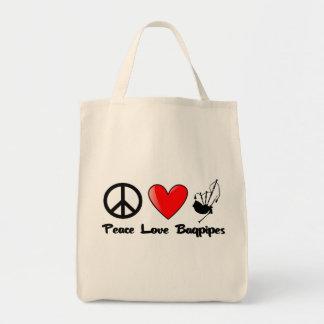 Paz, amor, gaitas bolsa tela para la compra