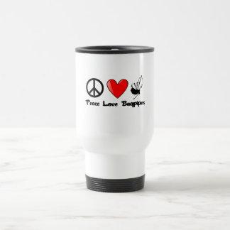 Paz, amor, gaitas taza de café