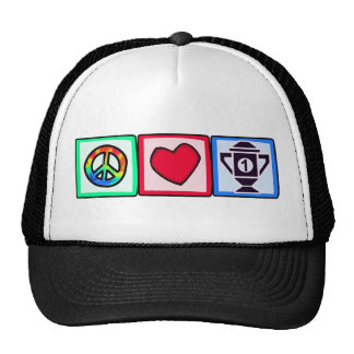 Paz, amor, ganando gorras de camionero