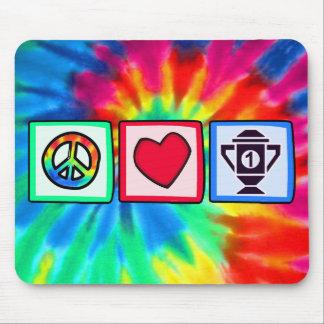 Paz, amor, ganando alfombrilla de ratón