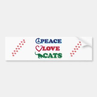Paz-Amor-Gatos Pegatina Para Auto