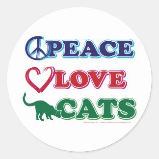 Paz-Amor-Gatos Pegatina Redonda