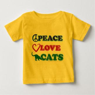 Paz-Amor-Gatos Playera De Bebé