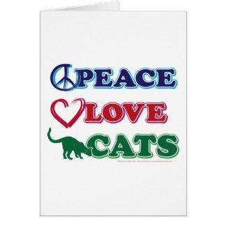 Paz-Amor-Gatos Tarjeta De Felicitación