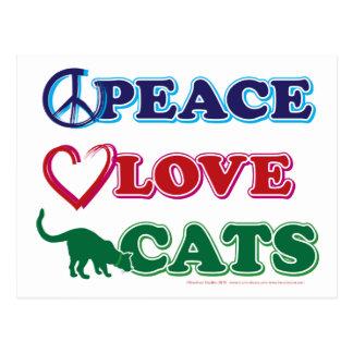 Paz-Amor-Gatos Tarjeta Postal