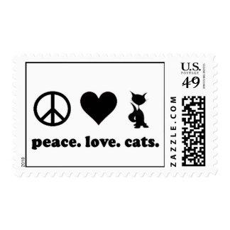 Paz. Amor. Gatos Timbre Postal