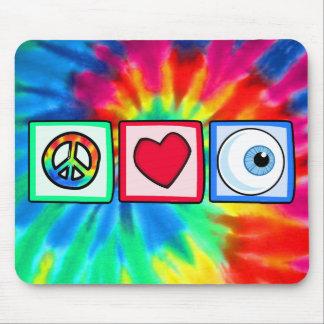 Paz, amor, globo del ojo alfombrillas de ratones