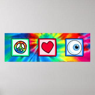 Paz, amor, globo del ojo impresiones