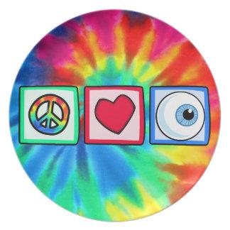 Paz, amor, globo del ojo platos de comidas
