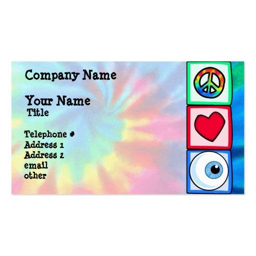 Paz, amor, globo del ojo tarjetas de visita