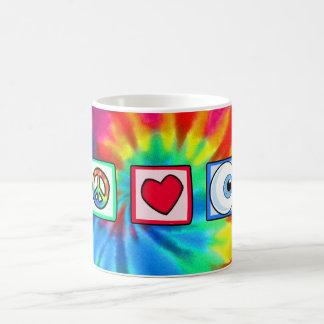 Paz amor globo del ojo tazas de café