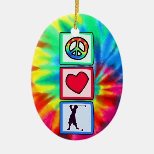 Paz, amor, golf del vintage adorno ovalado de cerámica