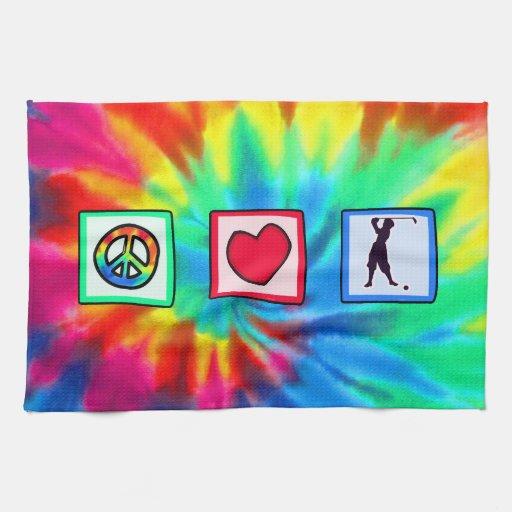 Paz, amor, golf del vintage toallas de mano