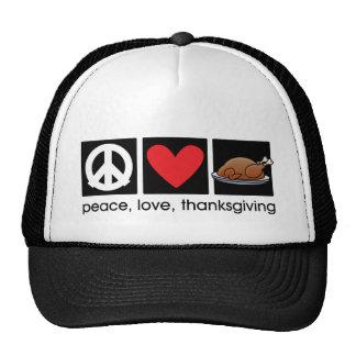 Paz, amor, gorra del camionero de la acción de gra