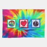 Paz, amor, guitarras acústicas toalla de mano