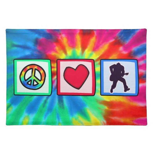 Paz, amor, guitarras manteles individuales