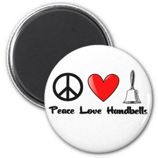 Paz, amor, Handbells Imán Redondo 5 Cm