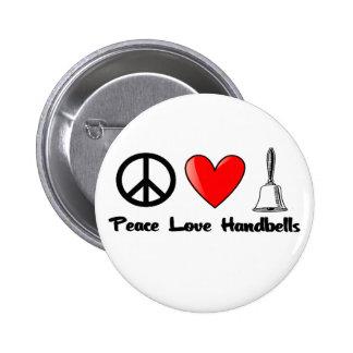 Paz, amor, Handbells Pin Redondo De 2 Pulgadas
