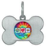 Paz, amor, hipopótamos placas de nombre de mascota