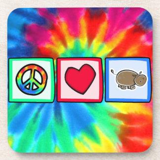 Paz, amor, hipopótamos posavasos de bebidas