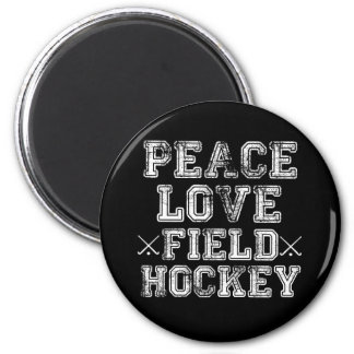 Paz, amor, hockey hierba iman para frigorífico