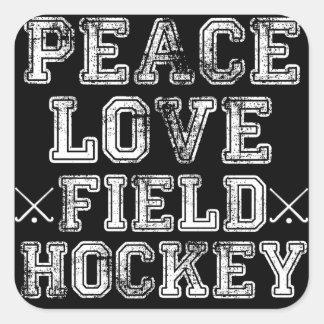 Paz amor hockey hierba colcomanias cuadradas personalizadas