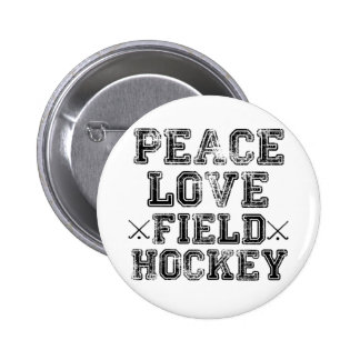 Paz, amor, hockey hierba pin redondo de 2 pulgadas
