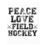 Paz, amor, hockey hierba tarjeta postal